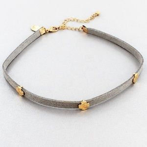 Gray Faux Leather Choker